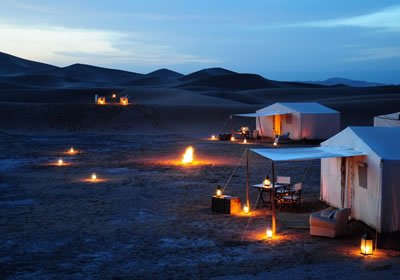 Evening Lights on at Luxury Desert Camp in Morocco