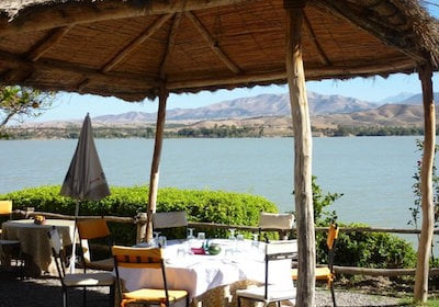 Restaurant Dining Tables Overlooking Lake Takerkoust, Morocco