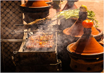 Food Cooking on Outdoor Moroccan Barbeque