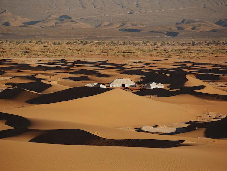 Luxury Berber Camp in the Sand Dunes of the Moroccan Sahara Desert