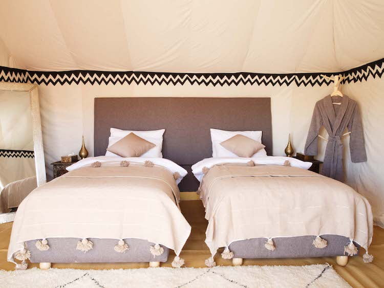Berber Luxury Desert Camp Bedroom Two Single Beds, Moroccan rug, Dressing Gown and Vanity Mirror