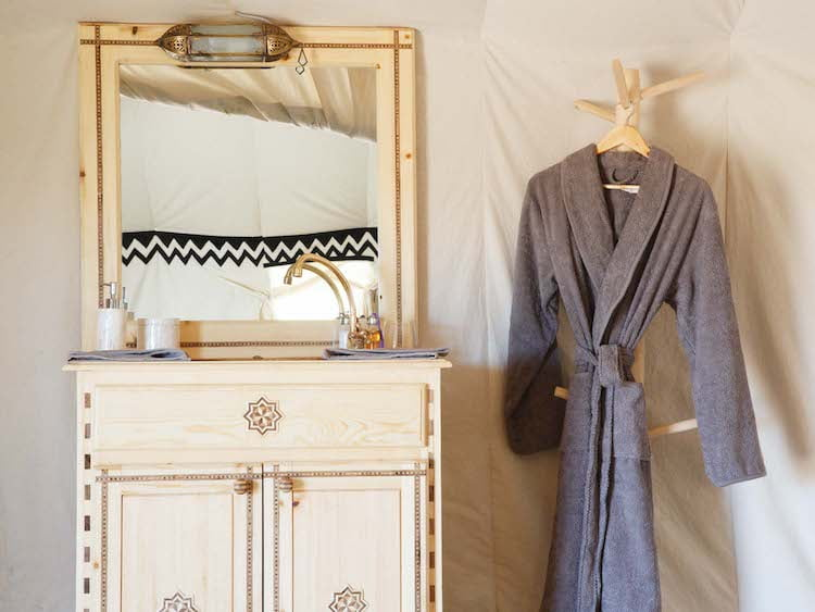Berber Desert Camp Bathroom Vanity Sink Cabinet and Dressing Gown