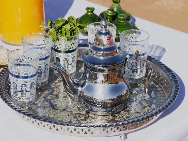 Moroccan Silver Teapot and Five Glasses on Silver Tray