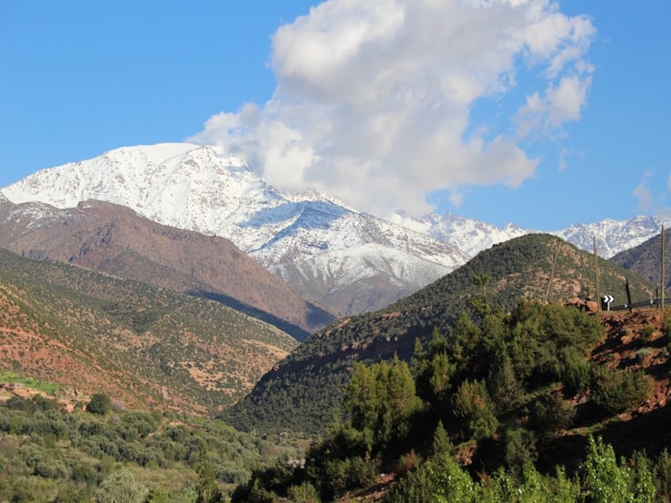 Blue sky over the snow capped Atlas mountains
