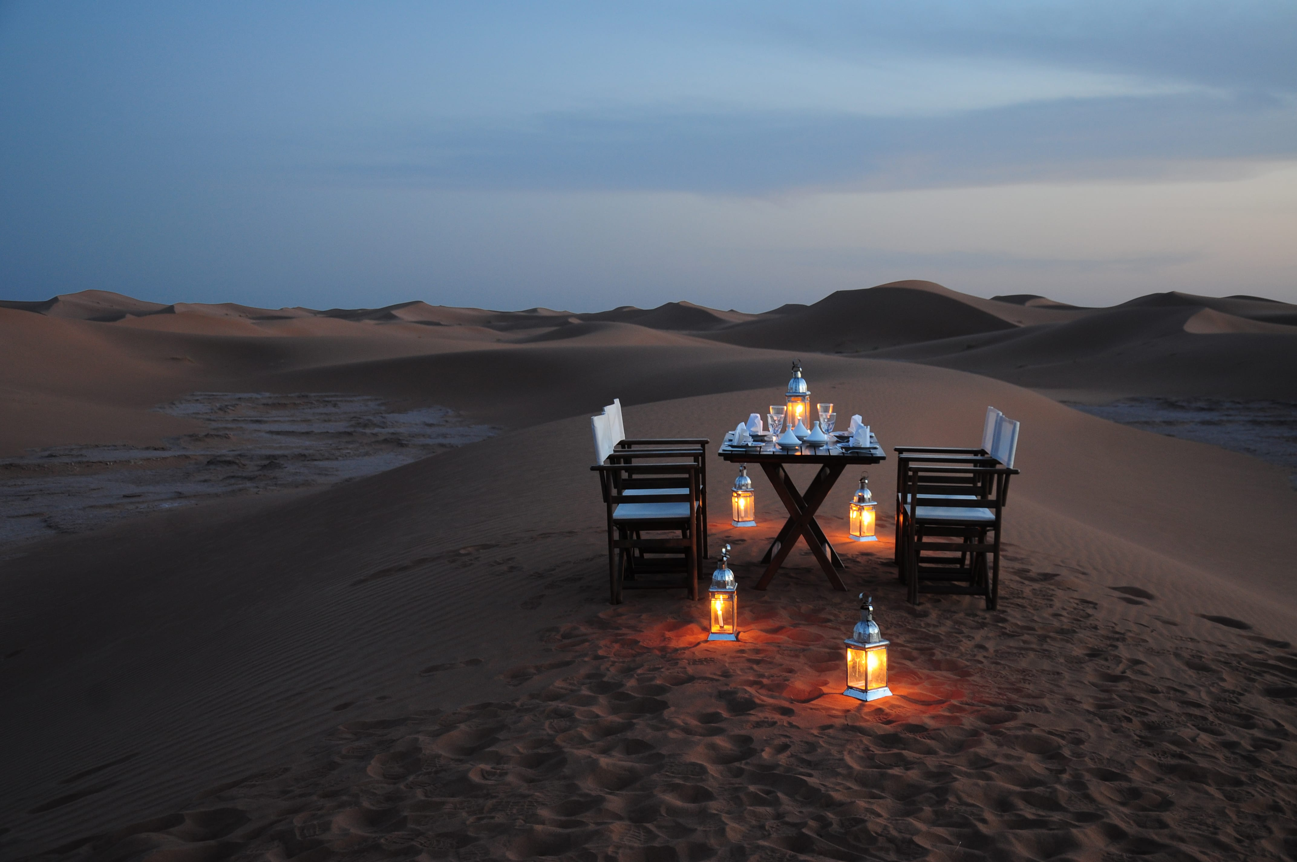 Alfresco Dining Table for Four at Evening in the Moroccan Desert