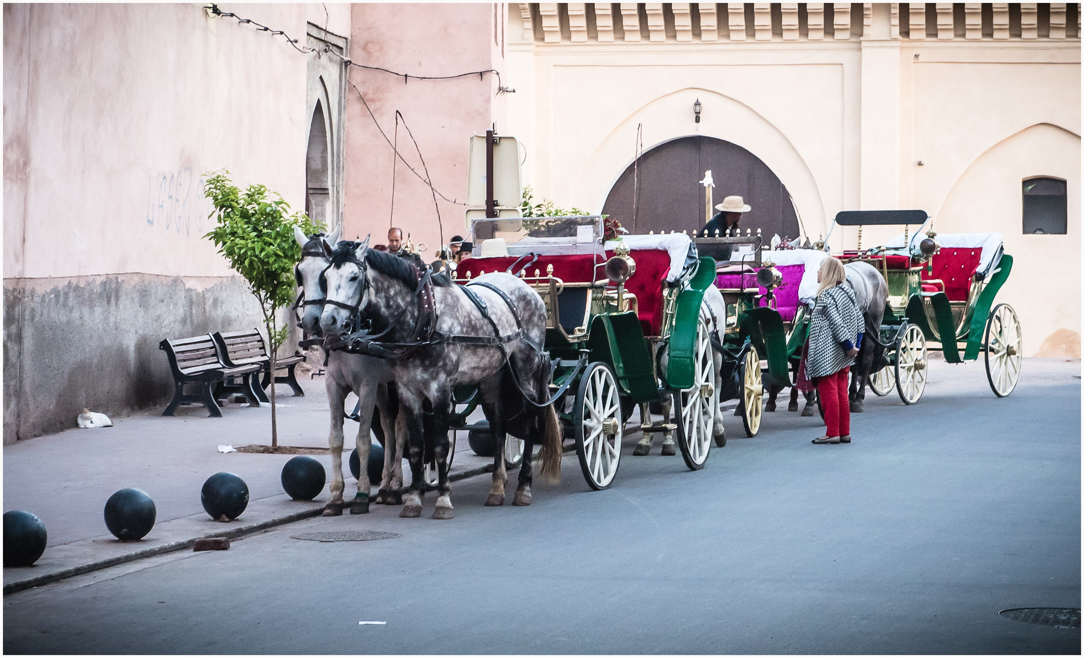 Horse-drawn tourist carriages awaiting passengers at Jemaa el-Fnaa square, Marrakesh