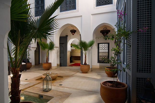 Reception area at the Dar Liouba guest house, located close to the Marrakesh Madina