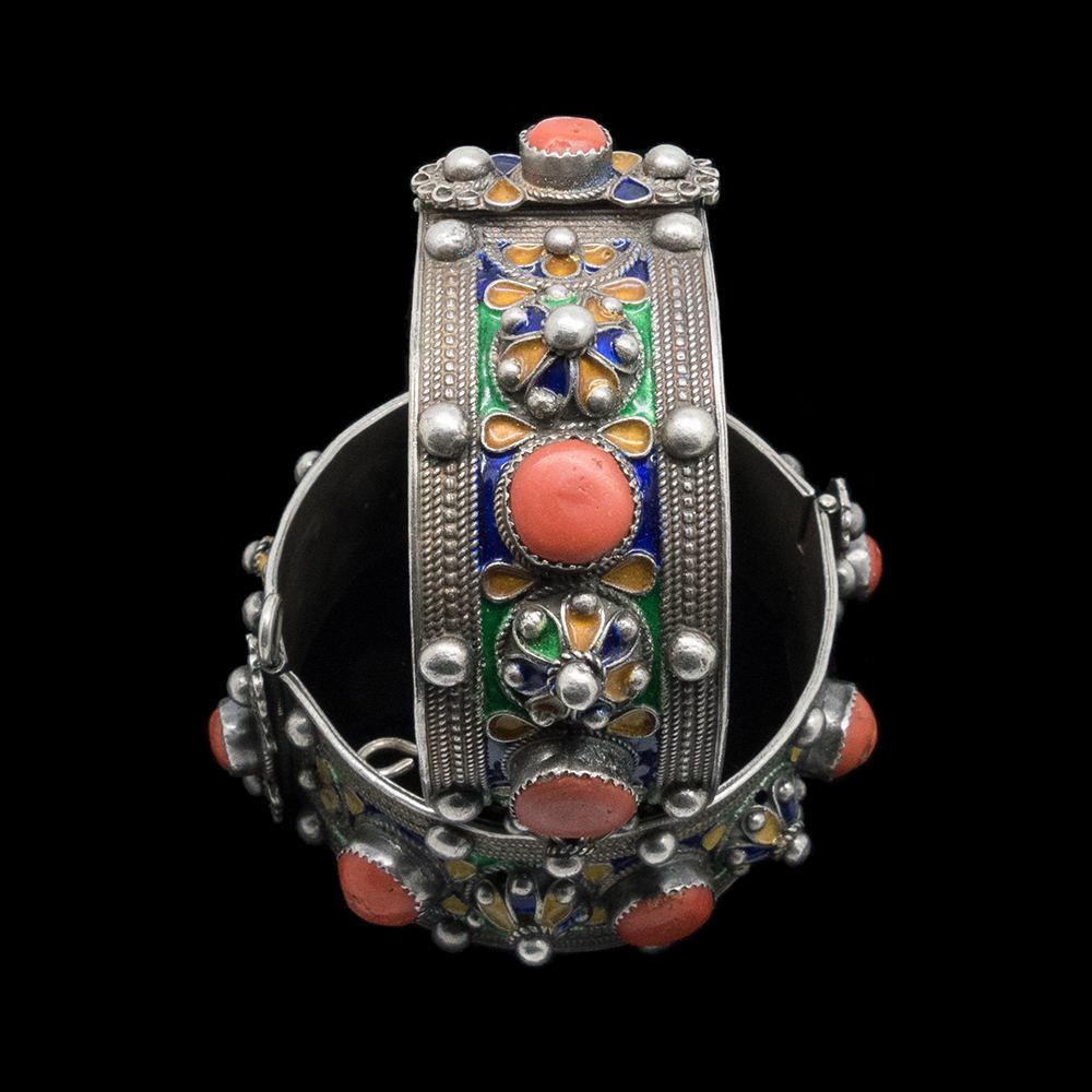 Moroccan Jewellery Pair of vintage silver enamelled bracelets